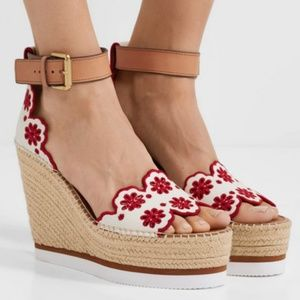 See By Chloe floral wedges, new in box